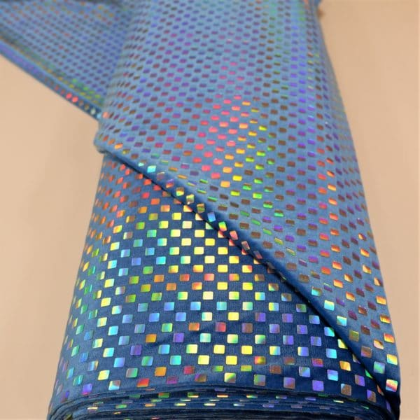 57.03403.011 Velours geplakte Hologram Pailletten Vierkant baby blauw