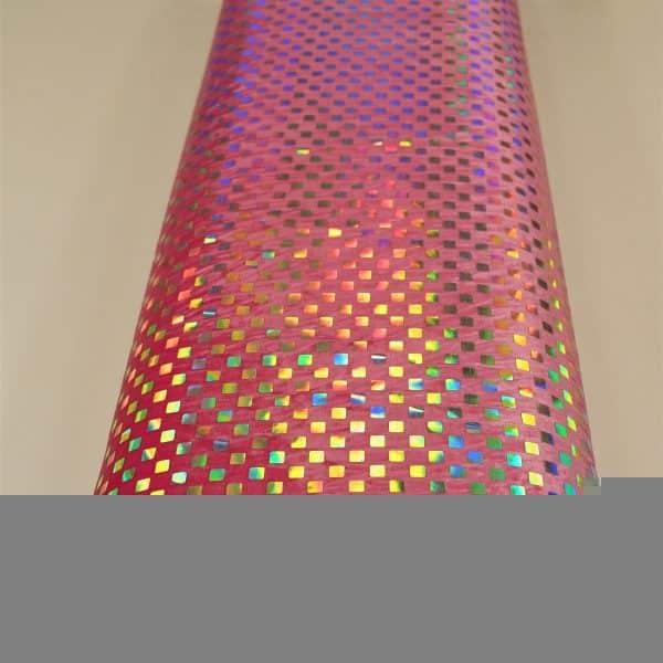 57.03403.025 Velours geplakte Hologram Pailletten Vierkant fuchsia
