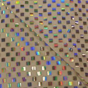 57.03403.001 Velours geplakte Hologram Pailletten Vierkant wit