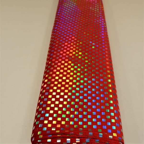 57.03403.020 Velours geplakte Hologram Pailletten Vierkant rood