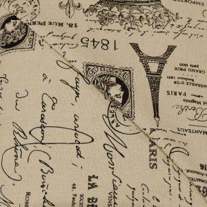 57.01329.010 Linnen bedrukt Parijs zwart