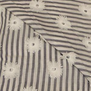 57.07718.048 Katoen Borduur Zonnebloemen grijs/wit-gestreept